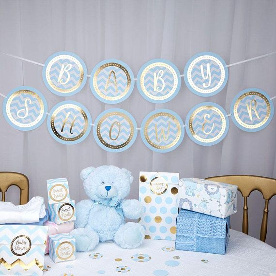 Pattern Works  Bunting  Baby Shower  Blue
