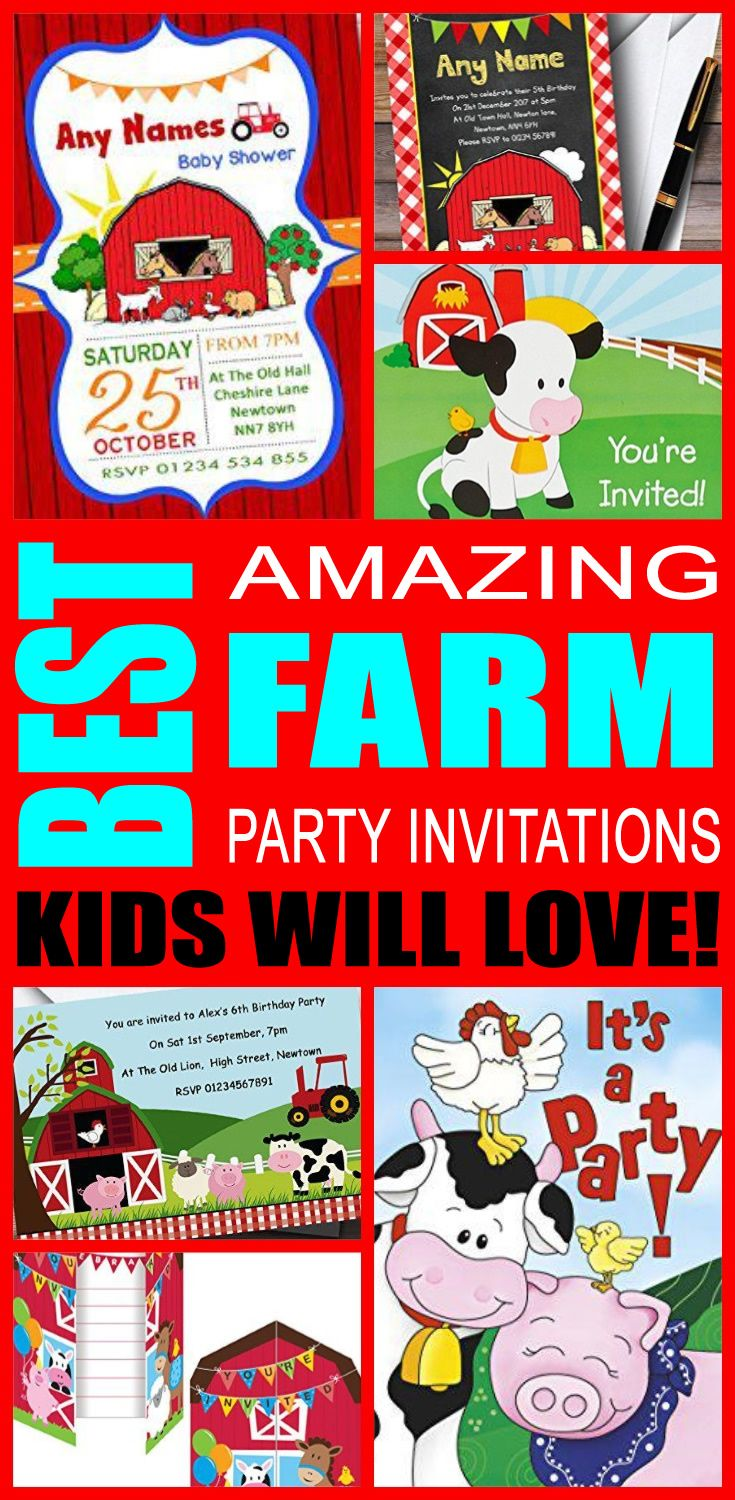 30 best kids party invitations images on pinterest for girls best farm party invitations kids will love solutioingenieria Choice Image