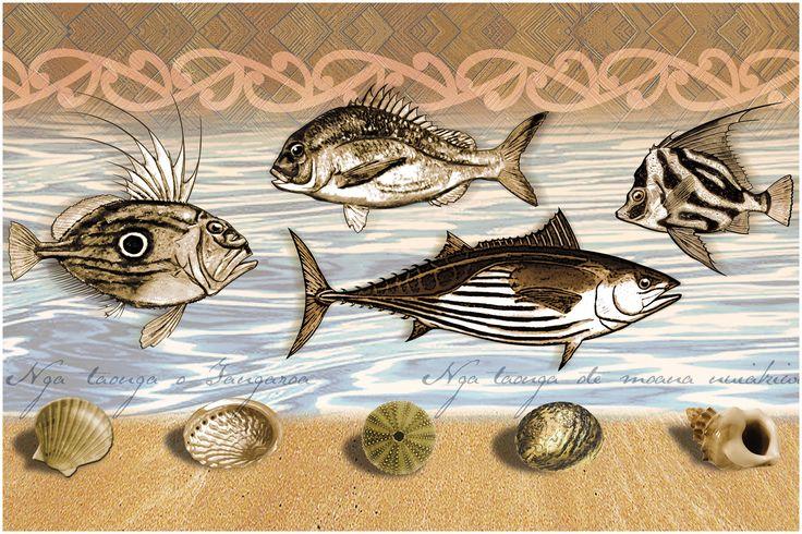"""""""Nga Taonga o Tangaroa"""" Sealife and shells in Tai Tokerau (Northland) New Zealand. Digital art-print by Terry Fitz., 2012."""