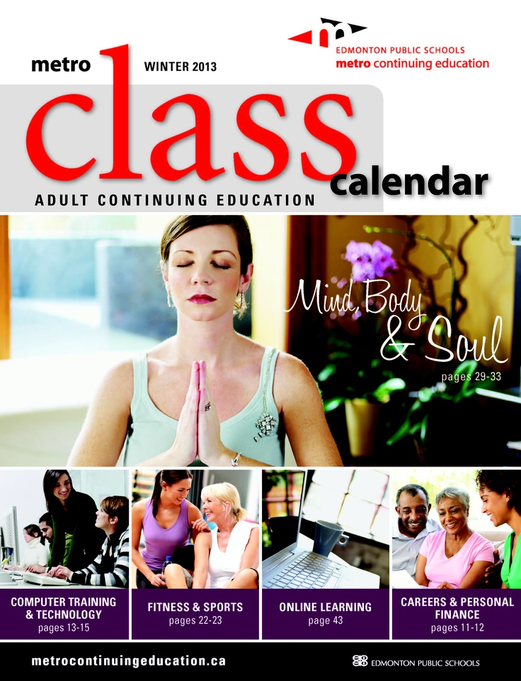 Our Adult Continuing Education Winter 2013 class calendar has just been released!! Browse the over 300 courses we are offering from January to March, including over 50 all-new classes!