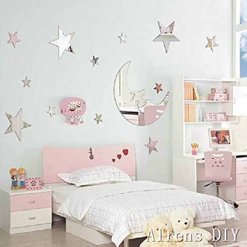 Alrens_DIYTM1 pcs Moon 12 Pcs Twinkle Stars DIY Mirror Effect Reflective 3D Wall Stickers Home Decoration Living Room Bedroom Bathroom Nursery Room Kindergarten Decor Mural Decal adesivo de parede Removable Kids Room Design Art Silver * Details can be found by clicking on the image.