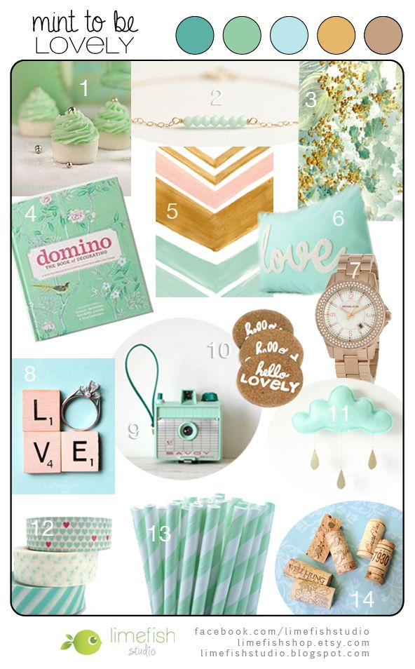 Color Inspiration Board: Mint to be Lovely, Mint and Gold Color Palette © Limefish Studio 2013 #colorpalette #mint #seafoam #gold #hues #tones #shades