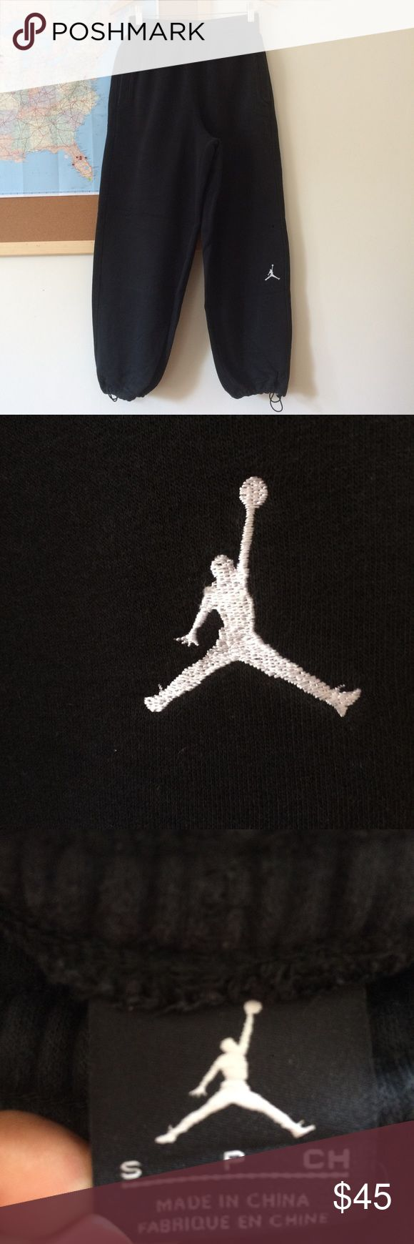 Black Air Jordan Sweats Black Jordan sweats with three pockets 1 on each side and one on the right but cheek. They collect at the ankles Air Jordan Pants
