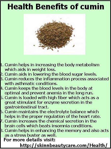 Healt Benefits of Cumin: The good old cumin- Discover its health benefits! http://skinnbeautycare.com/Health/health-benefits-of-jeera-cumin/