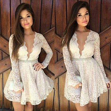 Women's Sexy Deep V-neck Lace Skater Dress (Pearl Belt Not Included) - USD $ 15.99