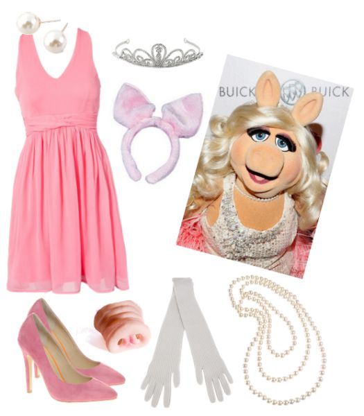 Miss Piggy costume! Style DIY costumes with this super fun, easy tool (WiShi). It's a styling website where you style people's real clothing in their virtual closets. #Fashion #Style #Costume #Halloween #DIY Connect via Facebook for free in seconds. ♥