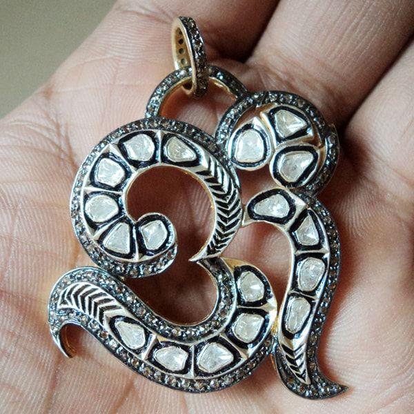 Om Polki Diamond 925 Silver Pendant