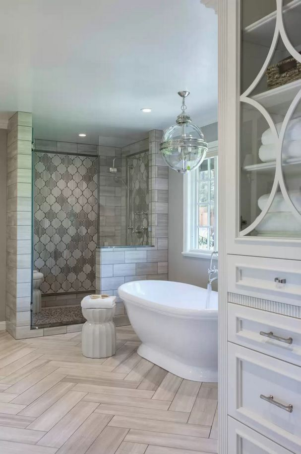Choosing New Bathroom Design Ideas 2016. White classic interior facing with tile
