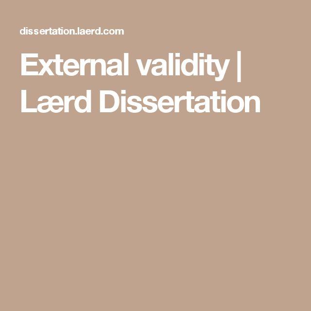 External validity | Lærd Dissertation