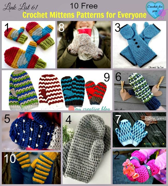 10 Free Crochet Mittens Patterns for Everyone.