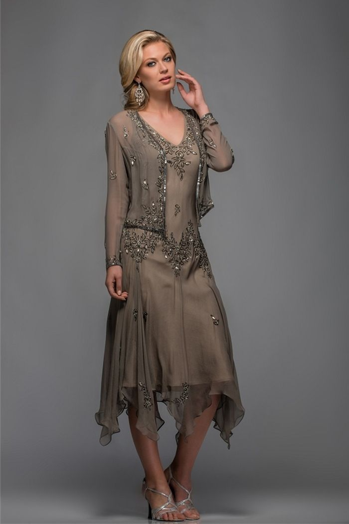 Find More Mother of the Bride Dresses Information about Olive green beaded pattern V neck handkerchief women outfit plus size chiffon tea length mother of the bride dresses with jacket,High Quality tea length ivory wedding dress,China tea length prom dress Suppliers, Cheap dress f from ToBeBridal on Aliexpress.com