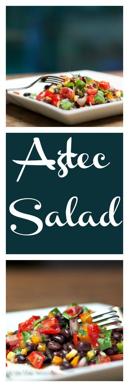"""Aztec Salad is a delectable combination of corn, tomatoes, and black beans: what the Aztecs called the """"three sisters"""", dressed with a no-fat dressing."""