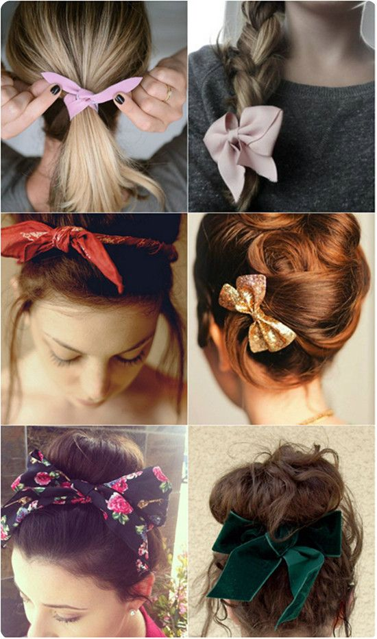 cute and easy hair bow style by clip on silky long extensions