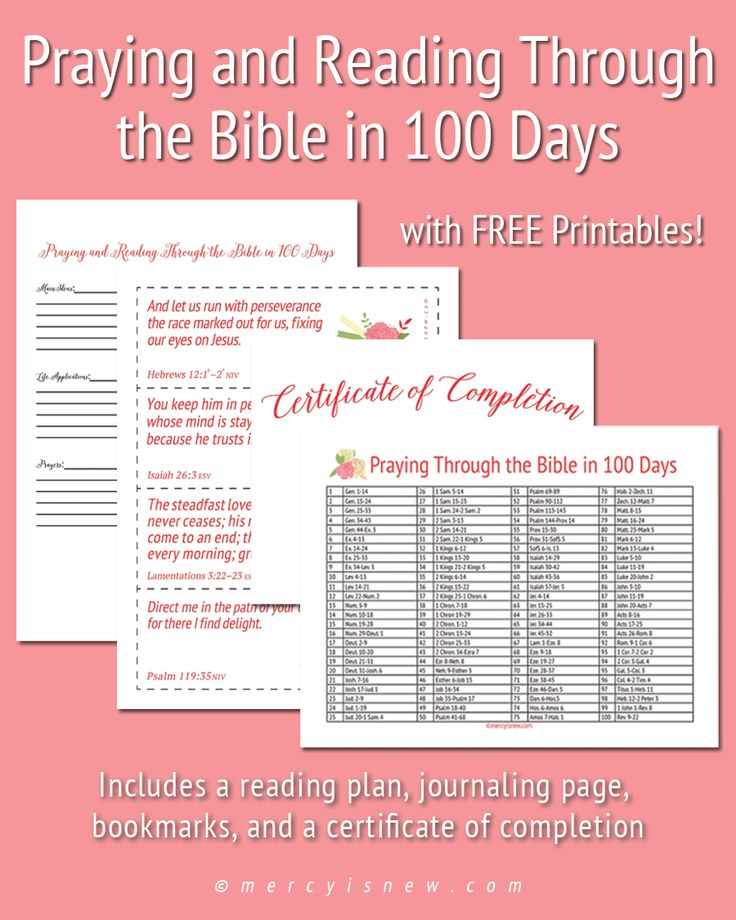 Read the Bible in 100 Days -- Reading plan and FREE printables!