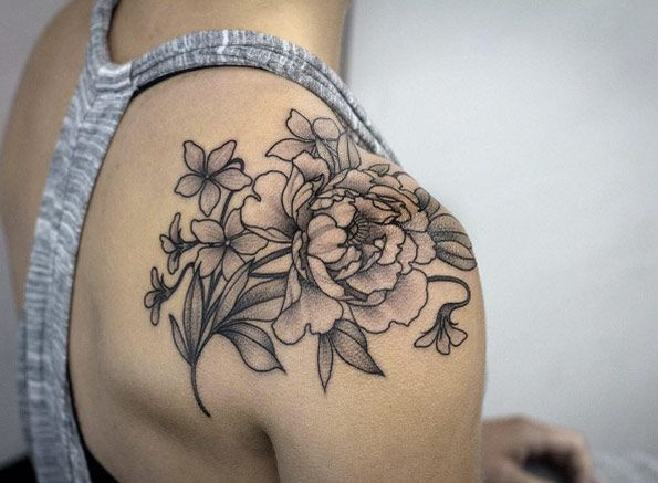 Flower Shoulder Tattoo Designs: Black An Gray Ink Florals By Kristi Walls