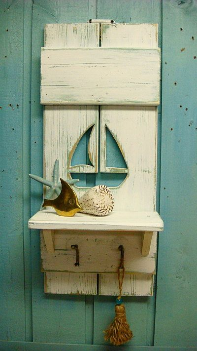 Shelf Hook Rack Sailboat Shutter Beach House Decor via Etsy
