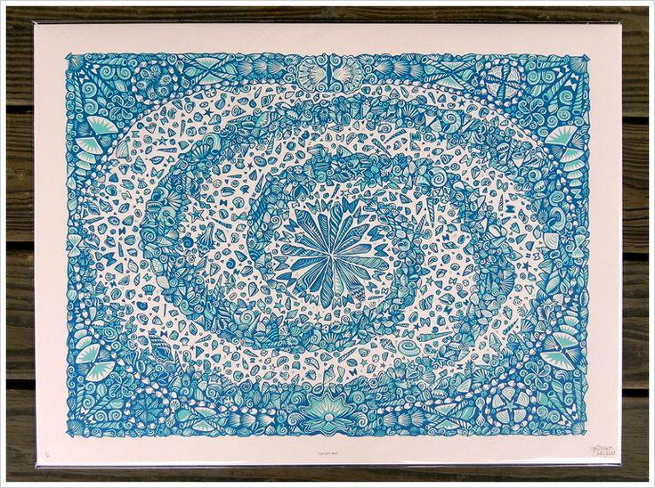 """GALAXY MAP""  Series: THE DEEP BLUE SEA   18"" x 24"" Color Woodcut Print on Pale Pink Arturo Paper   Paul Roden + Valerie Lueth, 2009."