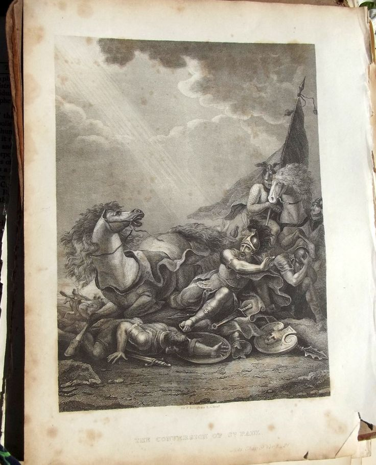 Genuine Early 19th Century Steel Engraving 1830s after sir Francis Bourgeois the conversion of st Paul by BountyFromThePast on Etsy