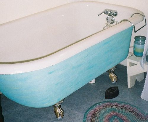 vintage clawfoot tub painted blue | Tub paint, Tubs and