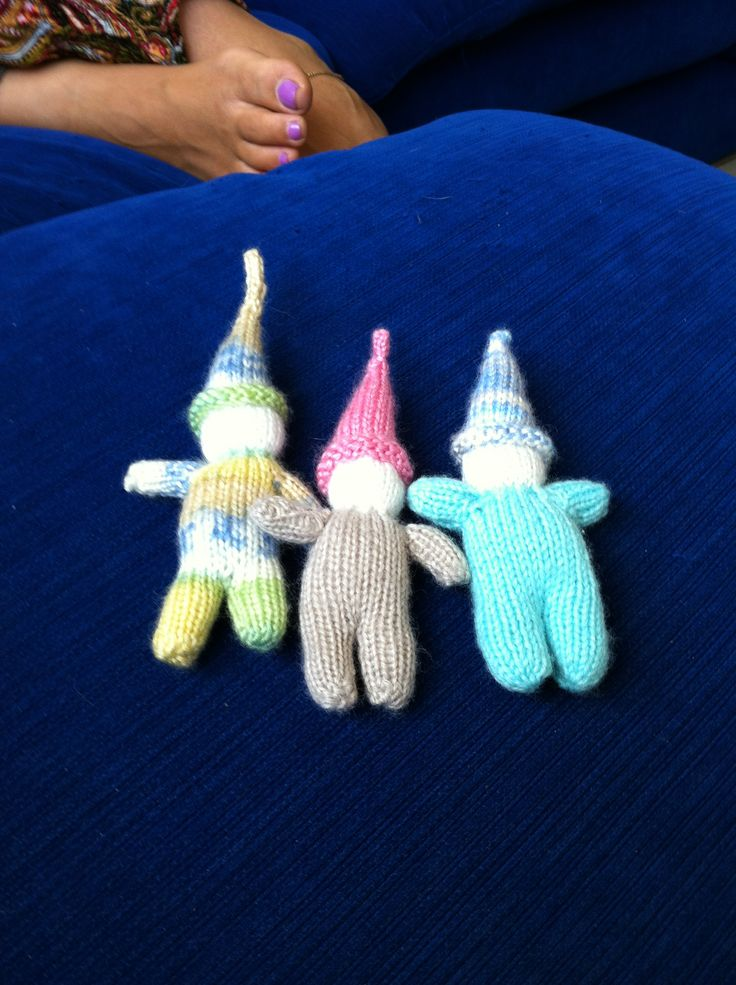 Taylor's Five Gnomes (three gnomes). I think the next ones will be knitted together to make a chain of gnomes. What is the collective noun for gnomes? A garden?