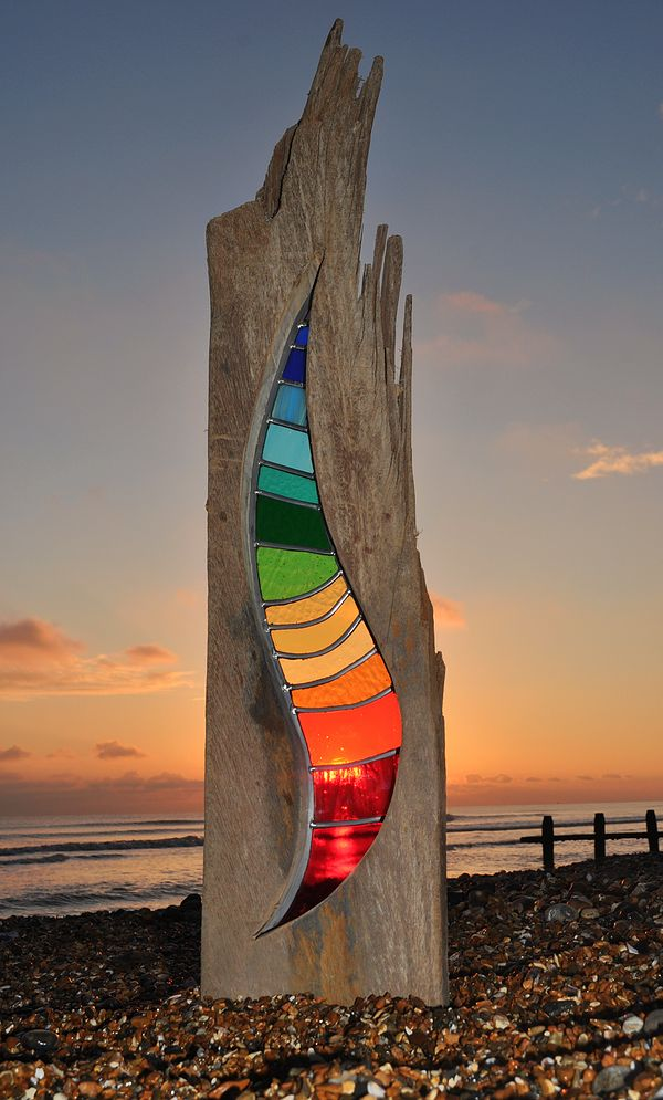 """Bending Light""  Beautiful glass and wood sculpture by Louise V Durham. Stained glass not fused."