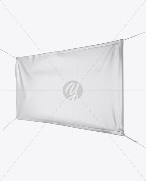 Glossy Vinyl Banner Mockup - Half Side View