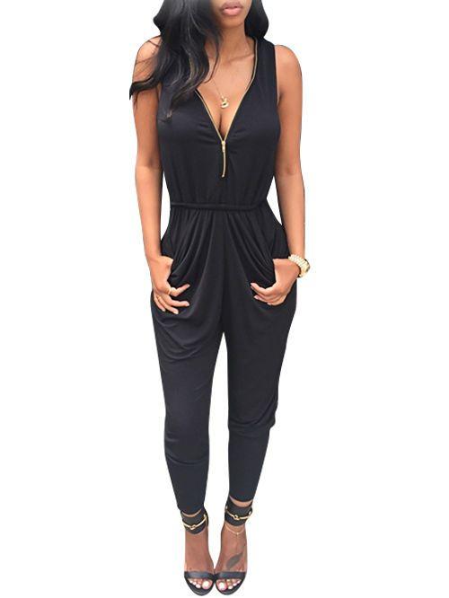 New Women Fashion Sleeveless Sexy V Neck Zipper Slim Solid Long Pleated Jumpsuit   eBay