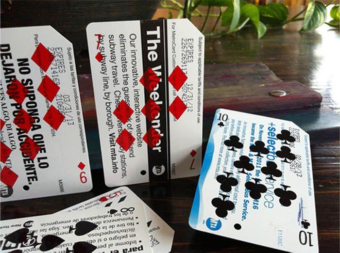 Silkscreened-MetroCards_Playing-Cards_collabcubedCards Design, Discarded Metro, Metrodeck Plays, Metrocard Silkscreen, Cards Prints, Playing Cards, Nyc Metrocard, Repurpoed Metrocard, Plays Cards