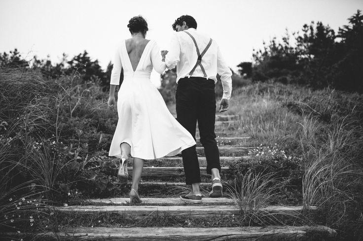 Robe: Jeanne Lannurien  Credits: WAT photography Hair & Makeup : Elodie Struillou Modeles: Anais & Vincent #jeannelannurien #bride #wedding #dress #frenchstylist #madetomeasure #mariage #shooting #robedemariee #creatricederobedemariee #bretagne #france #blackandwhite #couple #plage #beachwedding #midlengthweddingdress #robedemarieecourte #surmesure #WeddingDresses #2015 #mariee #decollete #dos #backless #begmeil #futuremariee