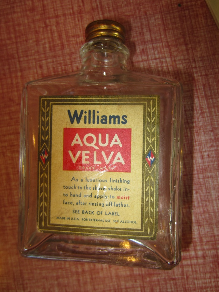 Williams Aqua Velva By Jb Williams Co Glass Bottle 1950s