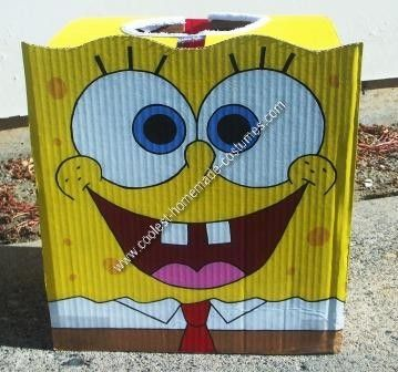 Homemade DIY Spongebob Halloween Costume Idea: When I saw that toddler SpongeBob costumes were $40 online, I decided to put those four years of high school art classes to work and put together a DIY
