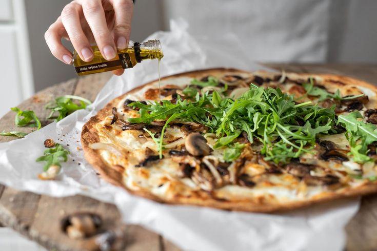 Recette Tarte fine aux champignons et huile d'olive ...
