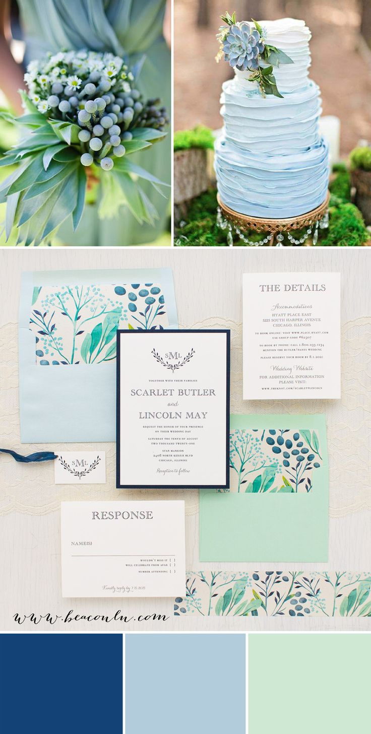 Navy blue and mint green floral inspired Navy Botanicals wedding invitations. Simple typographic fonts on soft ivory paper creates a classic, yet modern/timeless look.