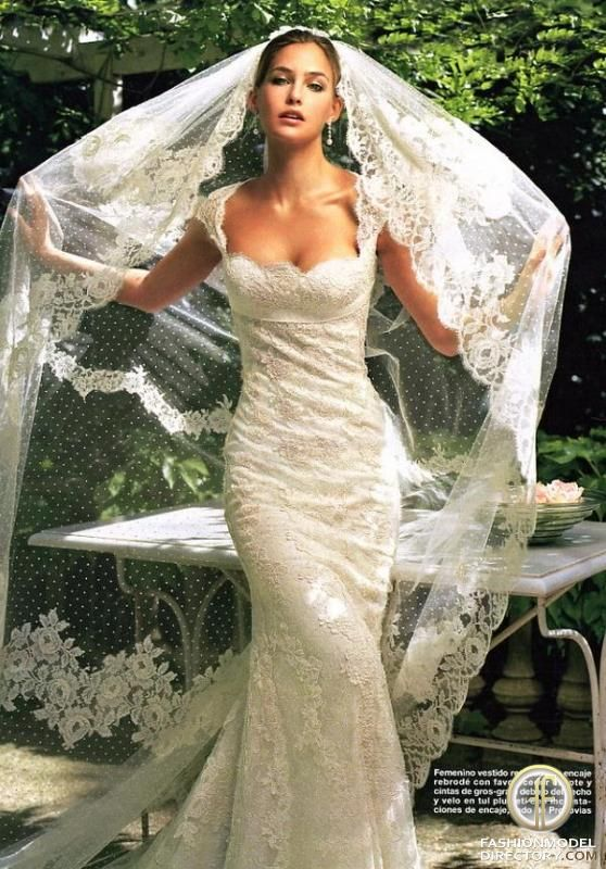 Pronovias lace dress and veil. Love the dress!!