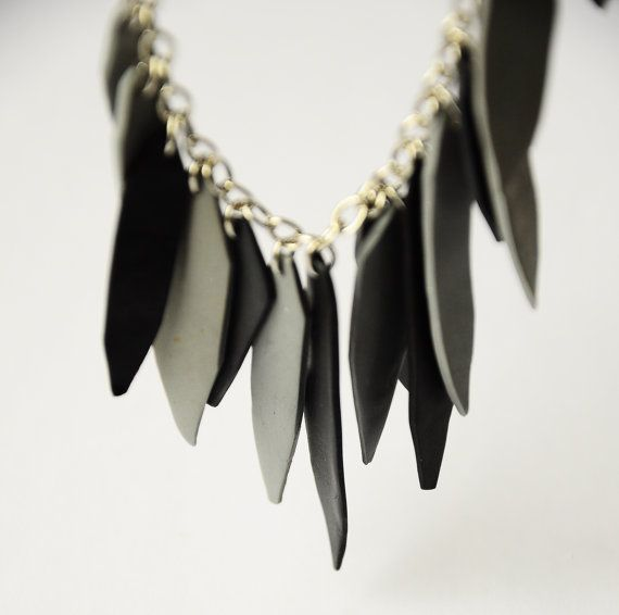 black and grey polymer clay necklace