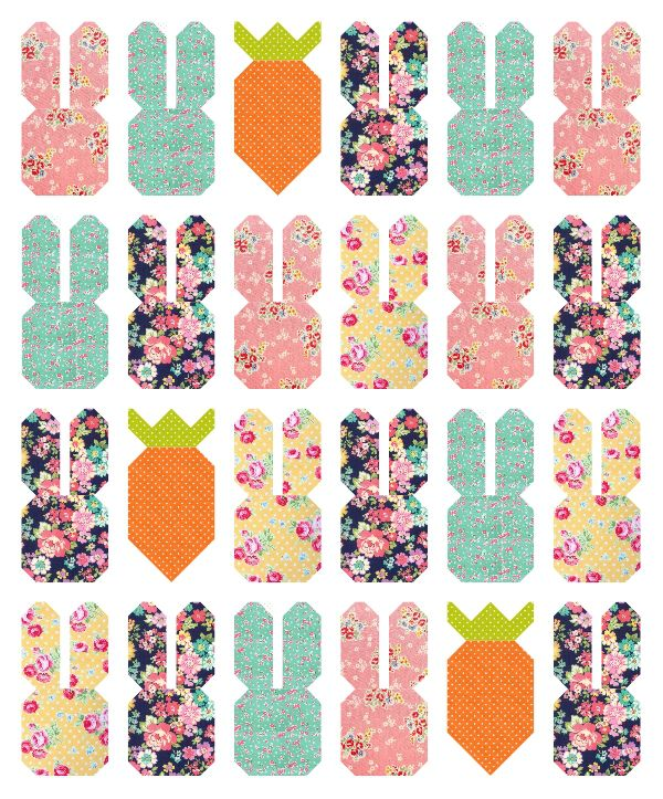 Free Bunny and Carrot Quilt Block Tutorials || Spring quilt || Easy quilt tutorial || Center Street Quilts