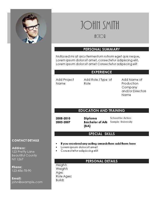Acting Resume Template Acting Resume Resume Template Word Acting Resume Template