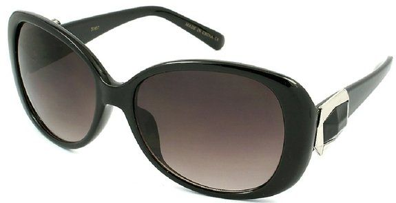Lightweight Fashion Black Plastic Sunglasses with 100% UV Protection Lens