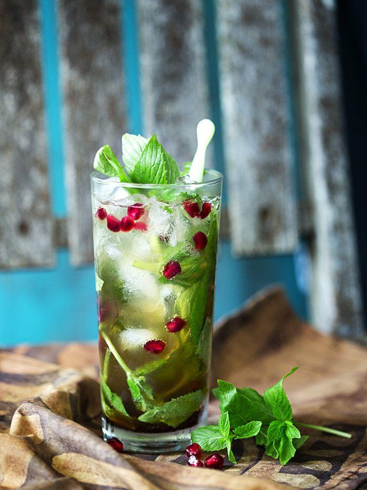 Izmir Iced Tea - a vodka-spiked iced chai tea with mint, pomegranate ...