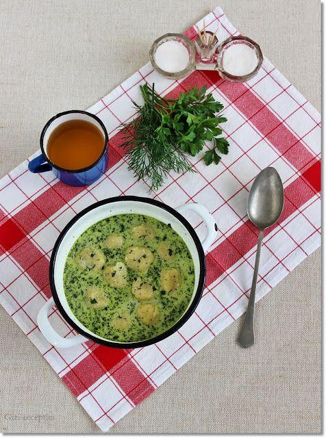 Gizi-receptjei.  Várok mindenkit.: Zöld leves sajtgombóccal.