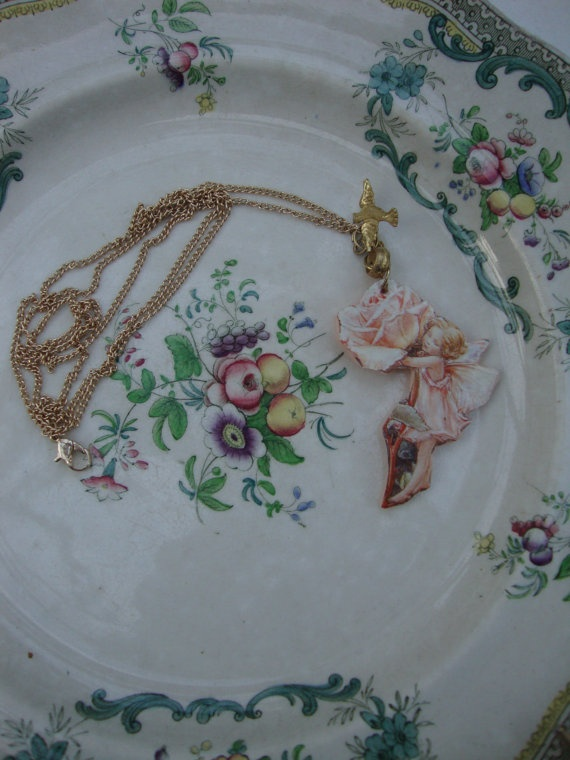 Fairy die cut on polimer clay necklace