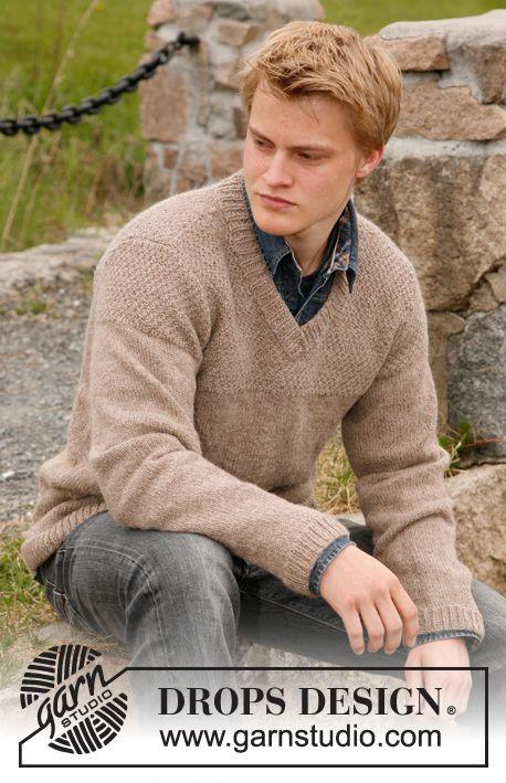 """DROPS stickad tröja till herr med mosstickat ok i """"Lima"""" eller """"Drops Loves You #3"""". Stl S-XXXL ~ DROPS Design"""