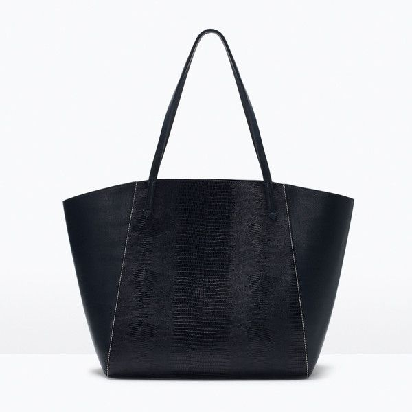Zara Combined Tote (€41) ❤ liked on Polyvore featuring bags, handbags, tote bags, zara, black, shopper, navy blue, zara tote bag, black shopping bags and navy tote bag