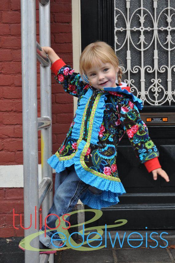 LARA - ruffled hoodie for girls, PDF sewing pattern - INSTANT download