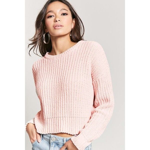Forever21 Metallic Chenille Knit Sweater ($14) ❤ liked on Polyvore featuring tops, sweaters, pink knit sweater, forever 21 sweaters, pink top, knit sweater and long knit sweater