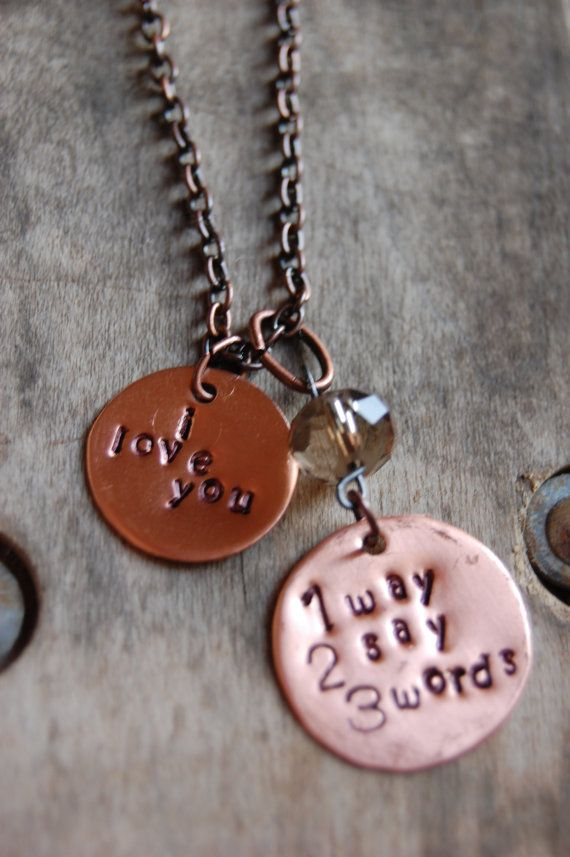 SALE  Copper stamped metal Necklace by harlowlane on Etsy, $10.00