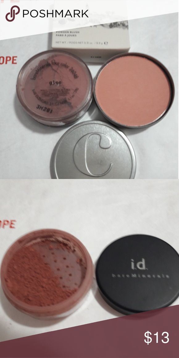 Cargo big easy blush and Bare minerals glee blush Cargo powder blush in the big easy.  Full size 0.31 oz. New in box RV 26 ID bare minerals  blush in glee.  Full size 0.1 oz.  Seal removed and cleanly tested once. RV 21 Bare Escentuals Makeup Blush