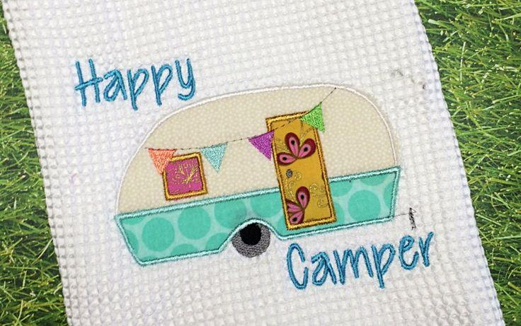 Happy Camper Embroidery Design Digital Download, camper embroidery design, RV camper design, pull behind camper, camping embroidery design by SpreadingThread on Etsy
