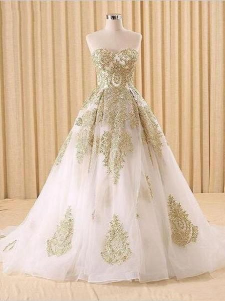 df75e1bb78f Ball Gown Wedding Dresses Sweetheart Sweep Brush Train Beautiful Bridal Gown  JKW140