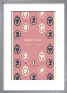 Middlemarch by Penguin Collection - Framed Art  Middlemarch dusty pink book jacket design by Coralie Bickford-Smith in a tate grey ash frame.